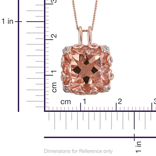 Galileia Blush Pink Quartz (Cush), Diamond Pendant With Chain in Rose Gold Overlay Sterling Silver 8.000 Ct.