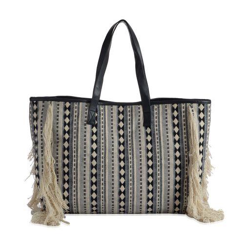 Cream, Black and Multi Colour Tote Bag (Size 50x40 m)