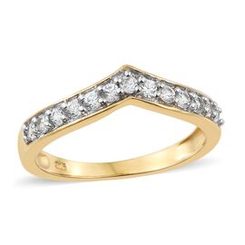 Natural Cambodian Zircon Wishbone Ring in Gold Overlay Silver 0.75 Ct