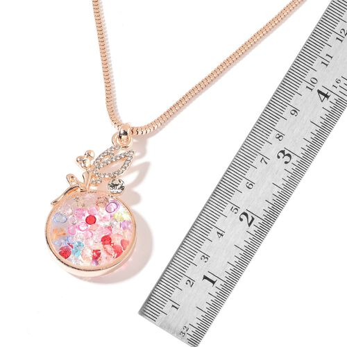 Multi Colour Austrian Crystal and White Austrian Crystal Pendant With Chain in Rose Gold Tone