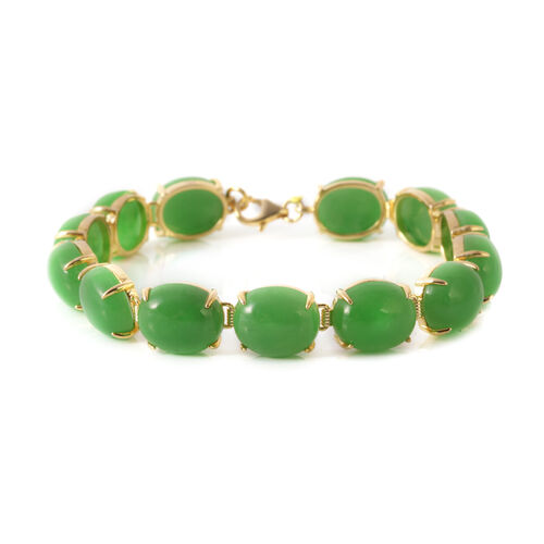 Green Jade (Ovl) Bracelet (Size 7.5) in 14K Gold Overlay Sterling Silver 85.250 Ct. Silver wt 7.78 Gms.