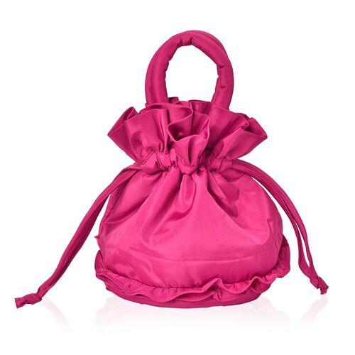 Handmade 3D Rose Embellished Fuchsia Bucket Design Bag (Size 21X14.5X11.5 Cm)