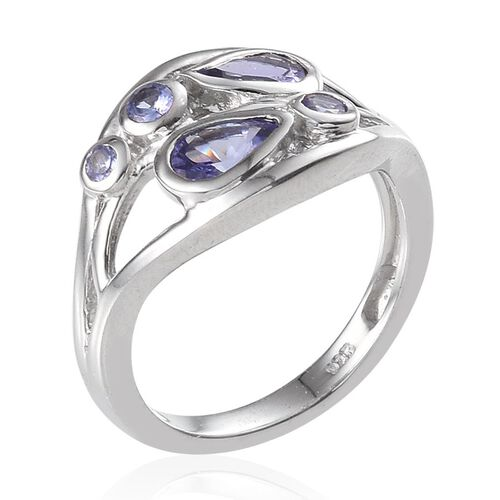 Tanzanite (Pear) Ring in Platinum Overlay Sterling Silver 1.000 Ct.