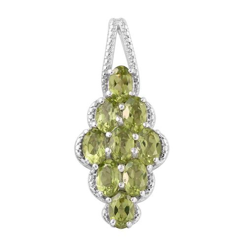 Nature Inspired - Hebei Peridot (Ovl) Pendant in Platinum Overlay Sterling Silver 4.500 Ct.