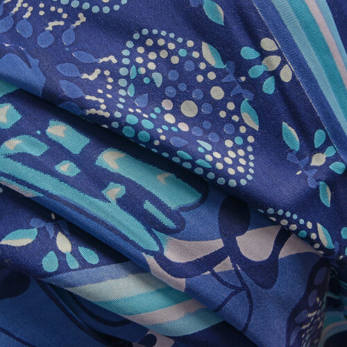 Dark and Light Blue Colour Butterfly Pattern Kaftan (Size 100X90 Cm)