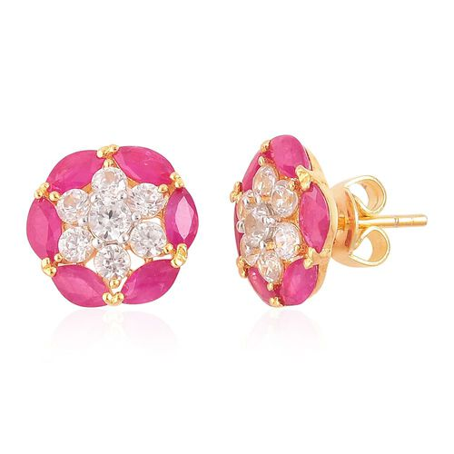 AAA Burmese Ruby (Mrq), Natural Cambodian Zircon Stud Earrings (with Push Back) in Yellow Gold Overlay Sterling Silver 3.580 Ct.