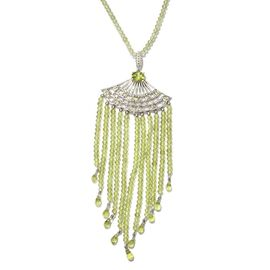 Limited Available- Designer Inspired AAA Hebei Peridot (Rnd) Hand Made Waterfall Necklace (Size 18) in Platinum Overlay Sterling Silver 117.250 Ct.