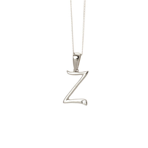 Diamond (Rnd) Initial Z Pendant With Chain in Platinum Overlay Sterling Silver