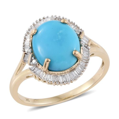 9K Y Gold AAA Arizona Sleeping Beauty Turquoise (Ovl 4.00 Ct), Diamond Ring 4.250 Ct.