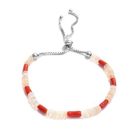 Ethiopian Welo Opal (Rnd), Natural Coral Bead Bolo Bracelet (Size 6.5 to 8.5) in Sterling Silver 8.800  Ct.