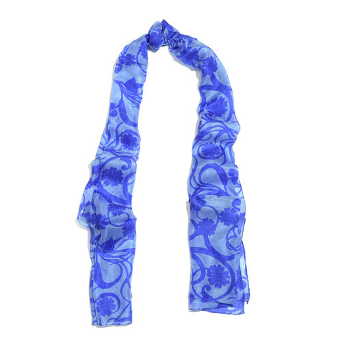 100% Mulberry Silk Floral Printed Dark and Light Blue Colour Scarf (Size 180x50 Cm)