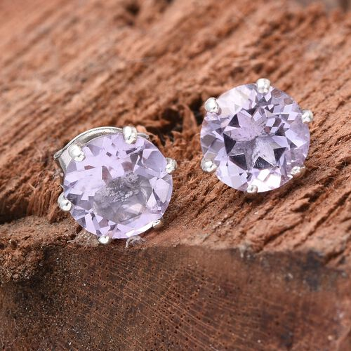 Rose De France Amethyst (Rnd) Stud Earrings (with Push Back) in Platinum Overlay Sterling Silver 2.250 Ct.