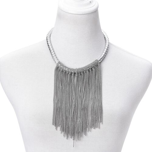 Waterfall Necklace (Size 18 with 2 inch Extender) in Silver Tone