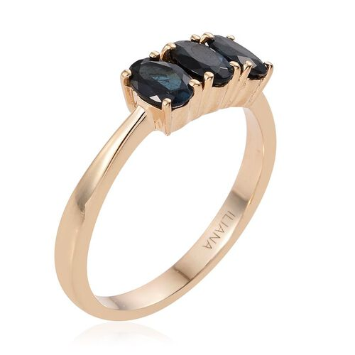 ILIANA 18K Y Gold Monte Belo Indicolite (Ovl) Trilogy Ring 1.250 Ct.