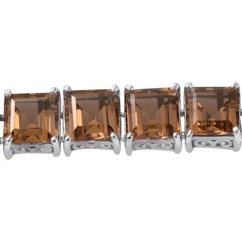 Alexite (Sqr) Tennis Bracelet (Size 7.5) in Platinum Overlay Sterling Silver 40.000 Ct.