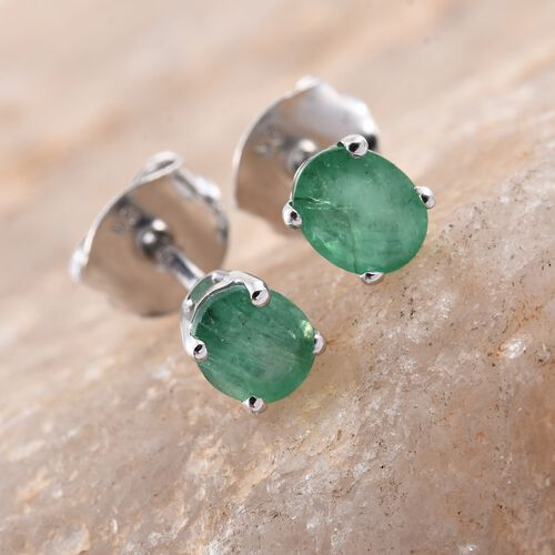 0.60 Ct AA Kagem Zambian Emerald Solitaire Stud Earrings in 9K White Gold (with Push Back)