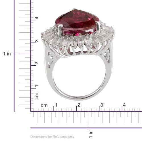Rubelite Colour Quartz (Pear 15.75 Ct), White Topaz Ring in Platinum Overlay Sterling Silver 18.800 Ct.