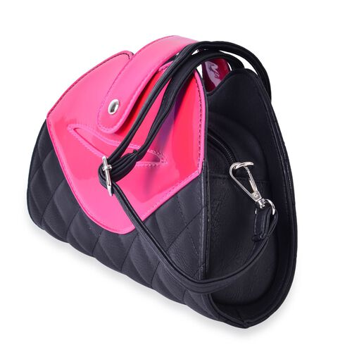 Fuchsia and Black Colour Lip Design Crossbody Bag with Adjustable and Removable Shoulder Strap (Size 26x18x7 Cm)