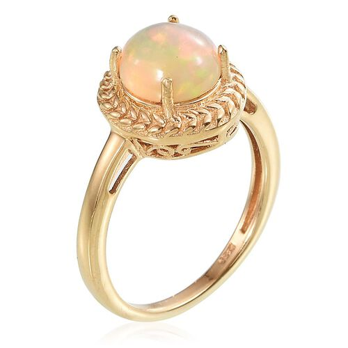 AA Ethiopian Welo Opal (Rnd) Solitaire Ring in 14K Gold Overlay Sterling Silver 1.250 Ct.