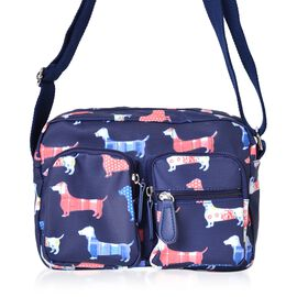 Blue, Pink and Multi Colour Dogs Pattern Multi Pocket Waterproof  Bag with Adjustable Shoulder Strap (Size 24X16.5X8 Cm)