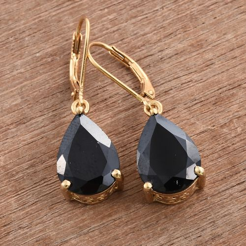 Boi Ploi Black Spinel (Pear) 11.75 Carat Silver Lever Back Earrings in 14K Gold Overlay