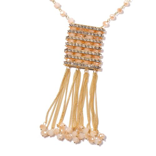 AAA White Austrian Crystal and Simulated Peach Moonstone Necklace (Size 26 with 3 inch Extender) in Yellow Gold Tone