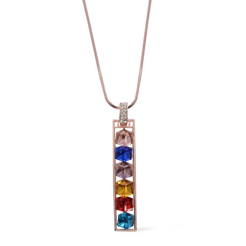 Multi Colour Glass and White Austrian Crystal Pendant With Chain in Rose Gold Tone