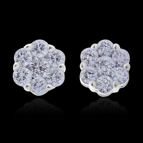 ILIANA 18K W Gold IGI Certified Diamond (Rnd) (S I/G-H) Floral Stud Earrings (with Screw Back) 0.500 Ct.