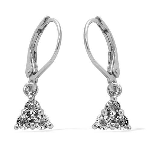 Diamond (Rnd) Lever Back Earrings in Platinum Overlay Sterling Silver 0.040 Ct.