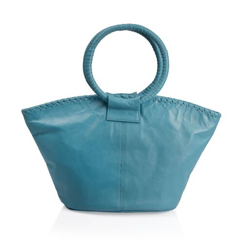 Designer Inspired - 100% Genuine Leather RFID Blocker Sea Blue Colour Handbag (Size 35X25X15 Cm)