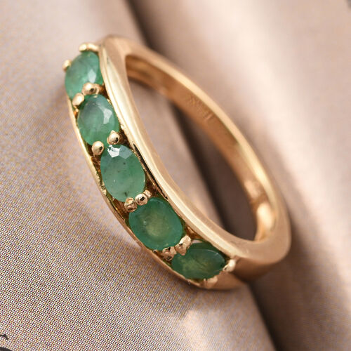 Zambian Emerald  0.75 Ct Silver Band Ring in Gold Overlay