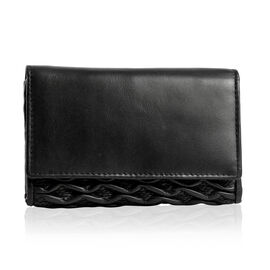 Genuine Leather RFID Blocker Black Colour Wallet with Multiple Card Slots (Size 15.25X10.15X2.5 Cm)