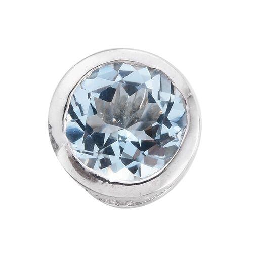 Espirito Santo Aquamarine 1.25 ct. Round Silver Solitaire Pendant in Platinum Overlay