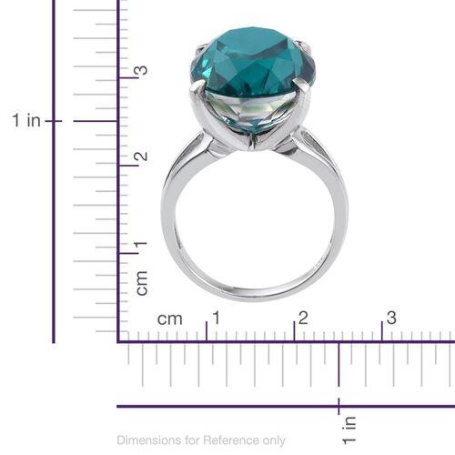 Capri Blue Quartz (Ovl) Ring in Platinum Overlay Sterling Silver 18.000 Ct.