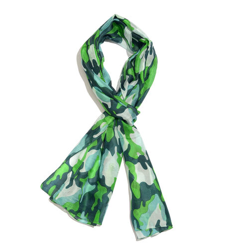 100% Mulberry Silk Green, Blue and Multi Colour Handscreen Printed Scarf (Size 180x50 Cm)