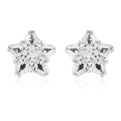 Diamond (Rnd) Star Stud Earrings (with Push Back) in Platinum Overlay Sterling Silver 0.330 Ct.