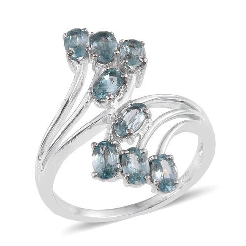 AA Natural Cambodian Blue Zircon (Ovl) Crossover Ring in Platinum Overlay Sterling Silver 2.750 Ct.