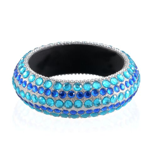 Aquamarine and Blue Glass Bangle (Size 65 MM)