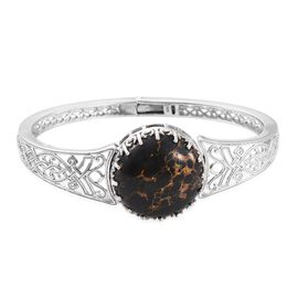 Mojave Black Turquoise (Rnd) Bangle (Size 7.5) in Platinum Overlay Sterling Silver 30.000 Ct.