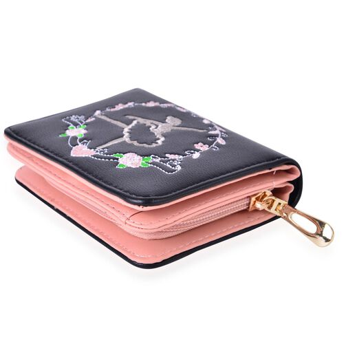 Dancing Ballerina Embroidered Black Colour Ladies Wallet with Multiple Card Slots (Size 13X9X3 Cm)