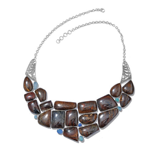 One Off A Kind- Boulder Opal Rock and Opal Double Necklace (Size 18 with 1 inch Extender) in Sterling Silver 557.350 Ct. Silver wt. 63.53 Gms.