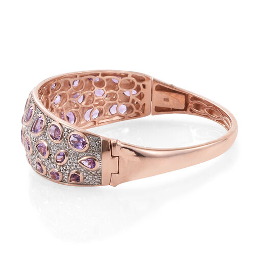 Amethyst (Ovl), Natural Cambodian Zircon Bangle (Size 7.5) in Rose Gold Overlay Sterling Silver 12.500 Ct.