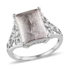 Meteorite (Bgt) Solitaire Ring in Platinum Overlay Sterling Silver 11.500 Ct.