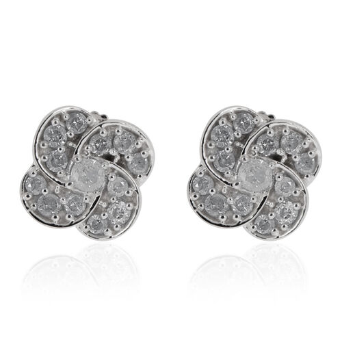 9K White Gold SGL Certified Diamond (Rnd) (I3/G-H) Lily Flower Stud Earrings (with Push Back) 0.330 Ct.