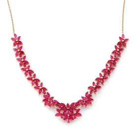African Ruby (Mrq) Necklace (Size 18) in 14K Gold Overlay Sterling Silver 14.750 Ct., Silver wt 19.00 Gms.