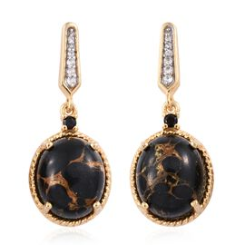 Mojave Black Turquoise (Ovl), Natural Cambodian Zircon and Boi Ploi Black Spinel Earrings (with Push Back) in 14K Gold Overlay Sterling Silver 9.500 Ct.