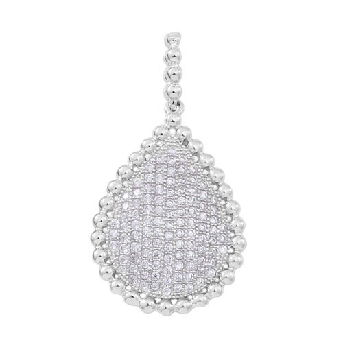 ELANZA AAA Simulated White Diamond (Rnd) Cluster Pendant in Rhodium Plated Sterling Silver