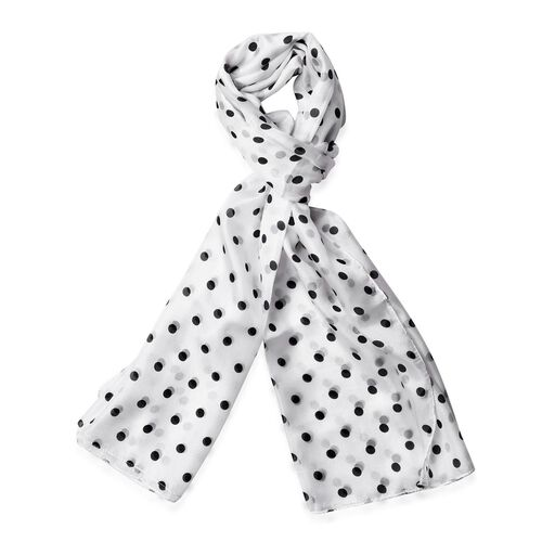 100% Mulberry Silk Black Colour Polka Dots Pattern White Colour Scarf (180x110 Cm)