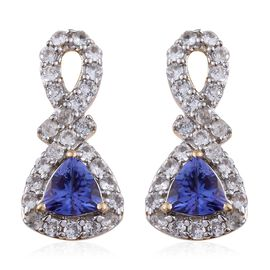 9K Y Gold AA Tanzanite (Trl), Natural Cambodian Zircon Earrings (with Push Back) 1.500 Ct.