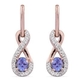 Tanzanite, White Topaz 0.96 Ct Silver Infinity Earrings  in Rose Gold Overlay (with Push Back)